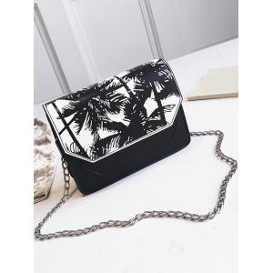 Metal Chain Flap Print Dating Sling Bag -