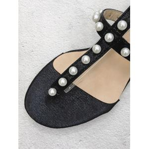 Ankle Strap Faux Pearl Decorated Crystals Thong Sandals -