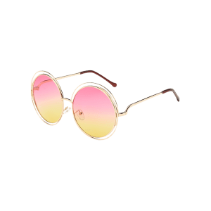 Unique Hollow Out Frame Round Sunglasses -