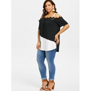 Plus Size Cold Shoulder Applique T-shirt -