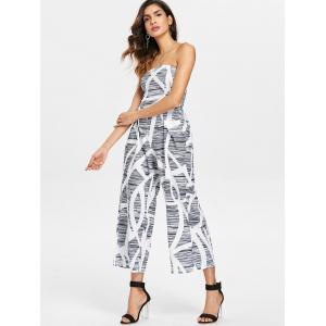 Wide Leg Strapless Printed Jumpsuit -