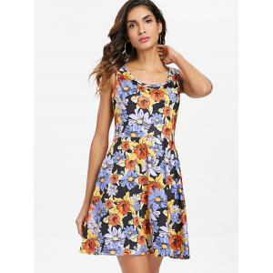 Floral Pattern Round Neck Fit and Flare Dress -