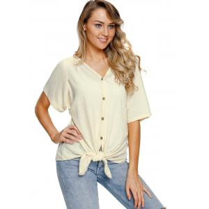 Button Up Tie Knotted Top -