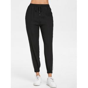 Checked Strap Side Casual Pants -