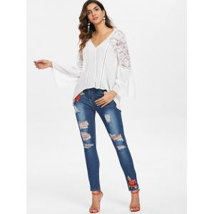Broderie florale Slim Ripped Jeans -