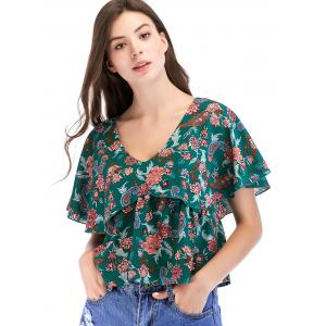 Floral Print Ruffle Sleeve Blouse -