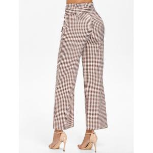 Belted High Waist Gingham Pants -