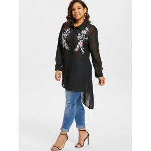 Plus Size Embroidered Sheer High Low Blouse -