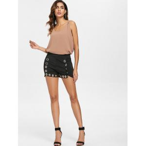 Hollow Out Shorts with Grommets -