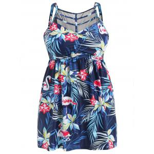 Plus Size Flamingo Flower Tankini Set -