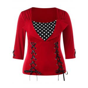 Lace Up Plus Size Polka Dot Insert Top -
