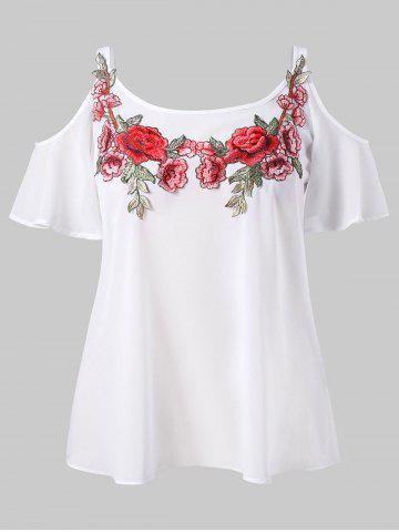 Latest Plus Size Cold Shoulder Embroidered Blouse