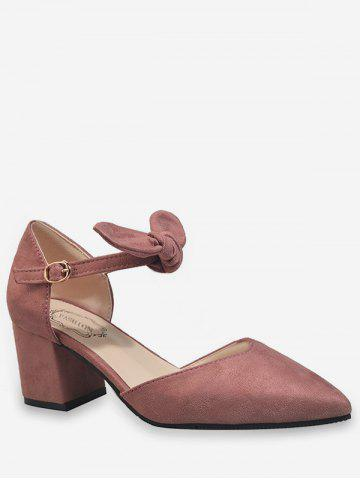 New Ankle Wrap Bowknot Block Heel Buckled Pumps