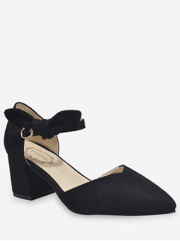 Affordable Ankle Wrap Bowknot Block Heel Buckled Pumps