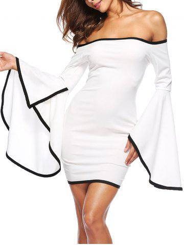 Fashion Bell Sleeve Off The Shoulder Mini Dress