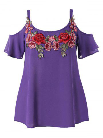 Affordable Plus Size Cold Shoulder Embroidered Blouse
