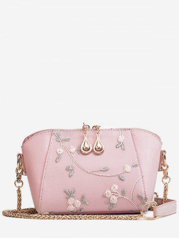Buy Flower Embroidery Shell Shaped Chic Crossbody Bag