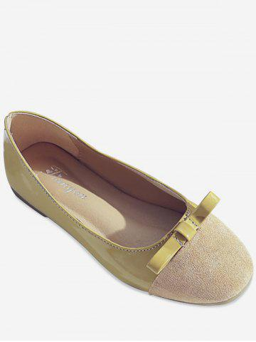 Cheap Flat Heel Almond Toe Bow Embellished Slip On Shoes