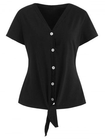 Fashion Self Tie Knotted Button Up Top