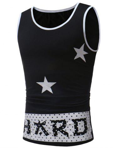 Latest Star Letter Print Round Neck Tank Top