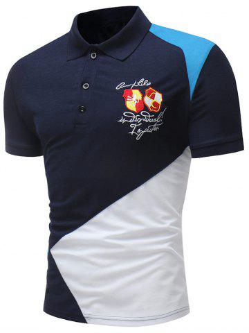 Hot Panel Embroidery Letter Short Sleeve Polo T-shirt