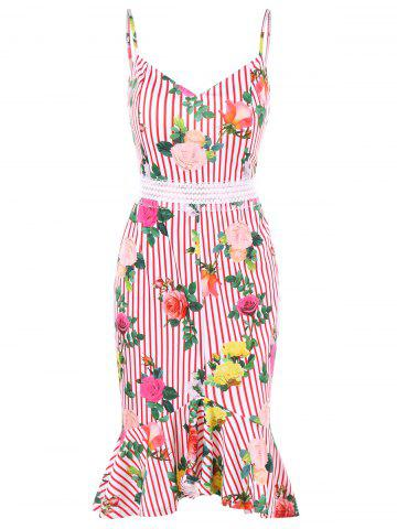 Rose Stripes Imprimer Cami Strap Robe en queue de poisson