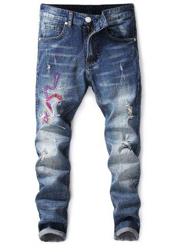 Shops Phoenix  Embroidery Destroyed Zip Fly Jeans