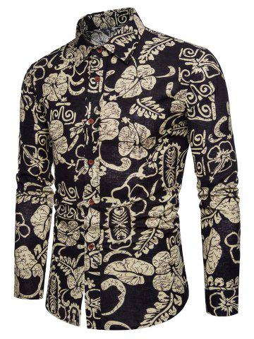Sale Ethnic Flowers Leaves Print Button Up Long Sleeve Shirt