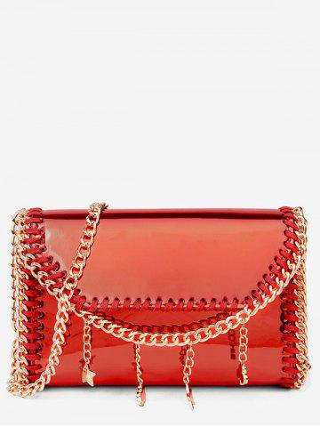 Outfit Metal Chain Sparkling Whipstitch Flap Crossbody Bag