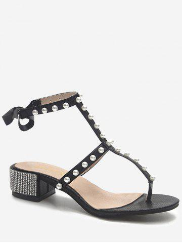Trendy Ankle Strap Faux Pearl Decorated Crystals Thong Sandals