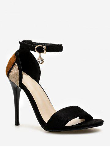Discount Stiletto Heel Contrasting Color Ankle Strap Sandals