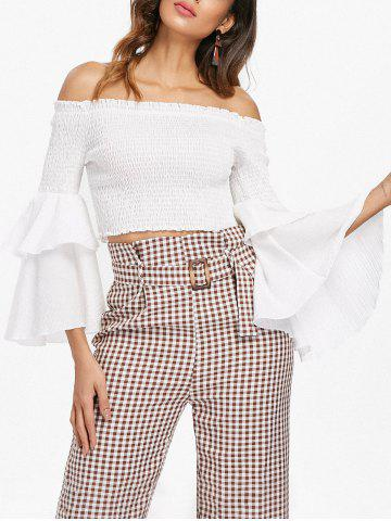 Discount Shirred Bell Sleeve Crop Top