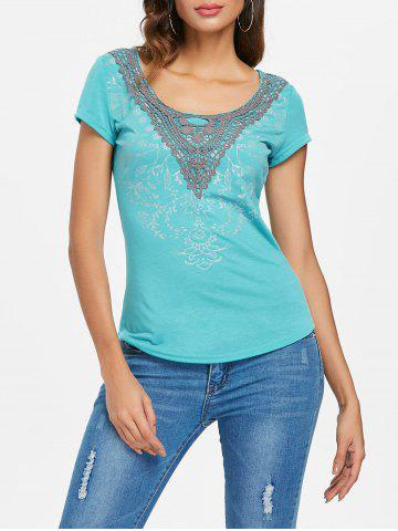 Outfits Scoop Neck Applique T-shirt
