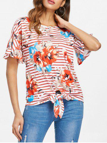 Discount Stripe and Floral Print Knotted T-shirt