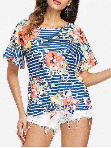 Hot Stripe and Floral Print Knotted T-shirt