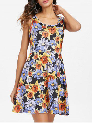 Chic Floral Pattern Round Neck Fit and Flare Dress
