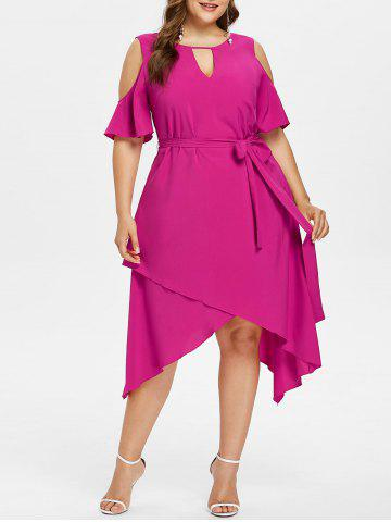 Fancy Plus Size Keyhole Criss Cross Overlap Dress