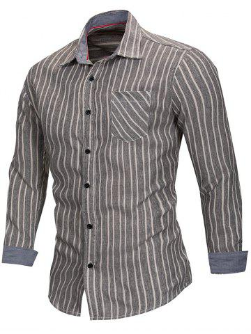 Trendy Stripe Print Button Up Slim Fit Shirt