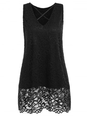 Cheap Lace Criss Cross Tank Top