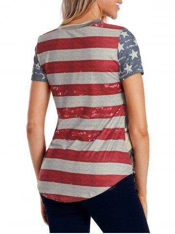 Hot Camouflage Back Striped Insert T-shirt