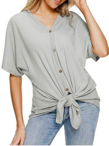 Fashion Button Up Tie Knotted Top