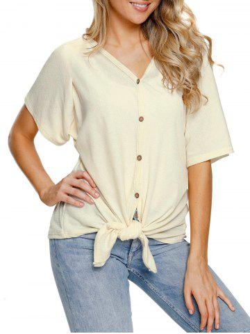 Fancy Button Up Tie Knotted Top
