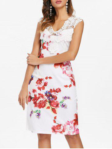 Fancy Floral Print Applique Pencil Dress
