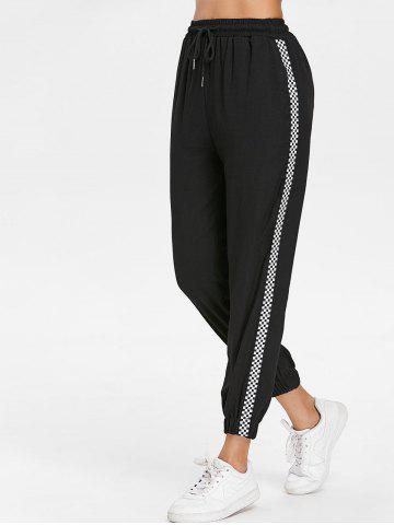 Discount Checked Strap Side Casual Pants