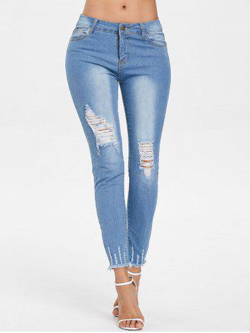 Sale Raw Edge Ninth Ripped Jeans