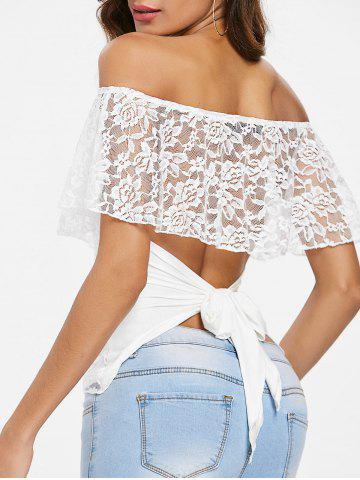 Trendy Lace Panel Off The Shoulder T-shirt