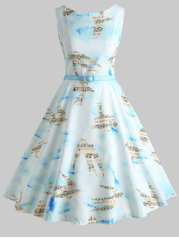Trendy Musical Notes Birds Print Vintage Dress