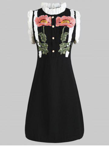Fashion Ruffled Buttons Embroidery Dress