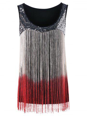 Sequin Fringed Gradient Tank Top - Love Red - Xl