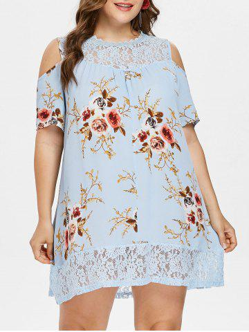 Plus Size Floral Print Cold Shoulder Dress - Day Sky Blue - 5x